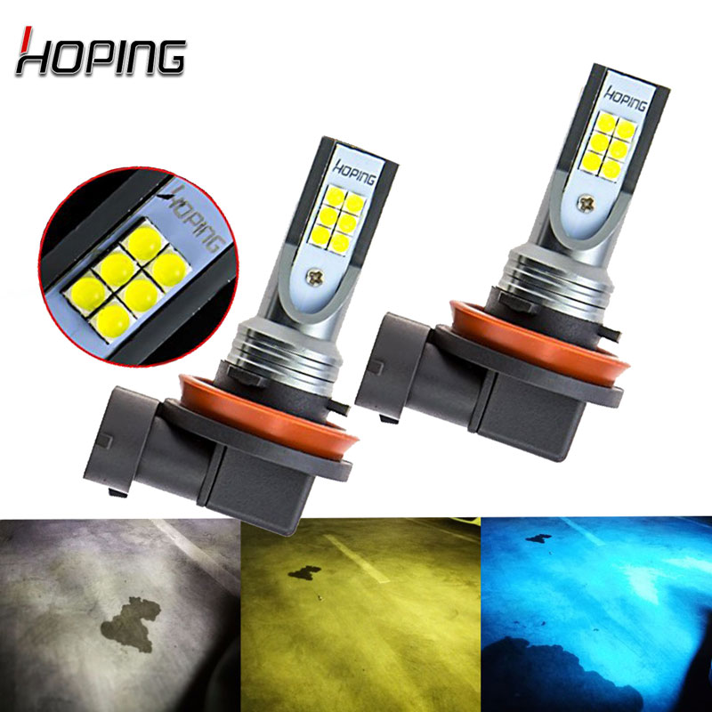 Hoping 2X Car H8 H9 H11 Fog Lights white gold yellow ice blue led DRL Daytime running light Auto Led Light 12V new 2x 8 led dc 12v auto daytime running light head drl car style for alfa romeo disco volante giulietta gt gtv mito spider