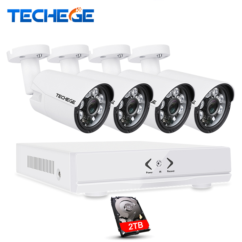 Techege 4CH CCTV System 4CH 720P AHD DVR 4PCS 1.0MP Outdoor Waterproof CCTV Camera 1200TVL Home Security System Surveillance Kit