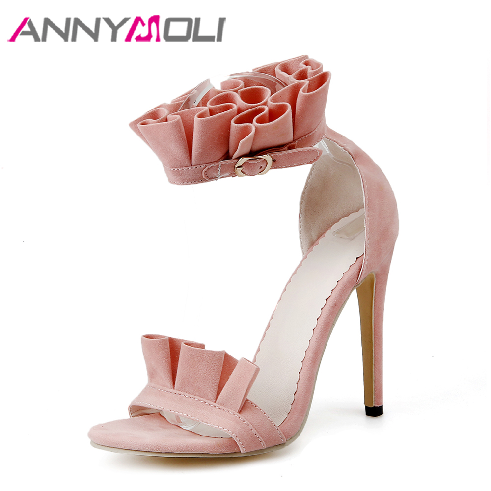 ANNYMOLI Women Sandals High Heels Party Shoes Open Toe Stiletto Summer Ruffle Ankle Strap High Heels Pink Yellow Plus Size 34-46 red high heels women shoes open toe ankle strap blue sandals stiletto chic fringed party d orsay shoes ladies large size 16