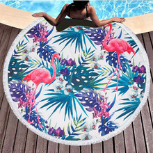 Baby Blanket Sandy Beach Pad 150*150CM Exceed Fine Fiber Flamingo Style Circular Mat