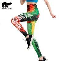 Hot 2017 Women Brand Slim Leggings Graffiti Fire 3D Print Trousers WAIBO BEAR Logo Ankle Length