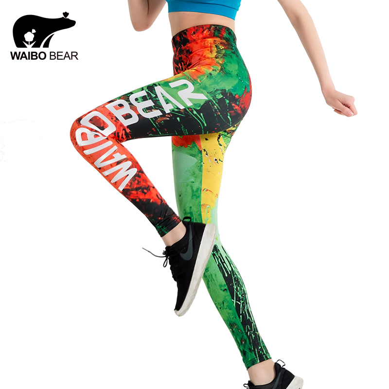 Marca Slim Leggings Graffiti Fire Imprimir en 3D leggings push up Mujeres WAIBO BEAR logo Hasta el tobillo Elastic Fitness Pencil leggins