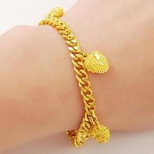 все цены на Luxury 24K Pure Yellow Gold Color Hearts Charms Pendants Link Chain Bracelets for Women Girls Luxury Elegant Party Jewelry Gift онлайн