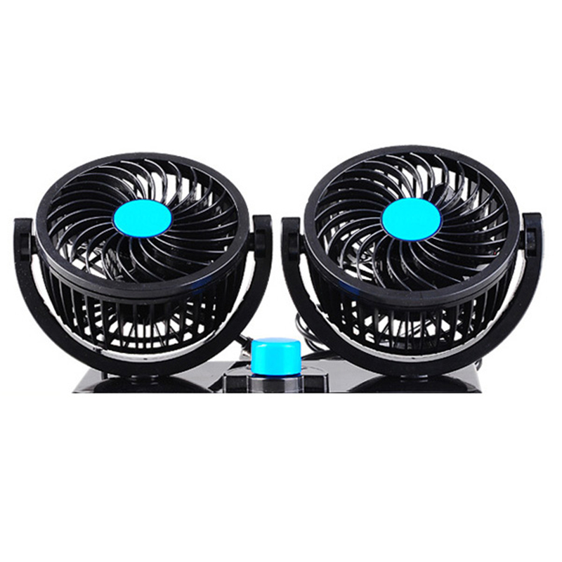 2 head 360 degree rotating car fans strong wind low noise car air conditioner portable auto - Portable Air Conditioner For Car