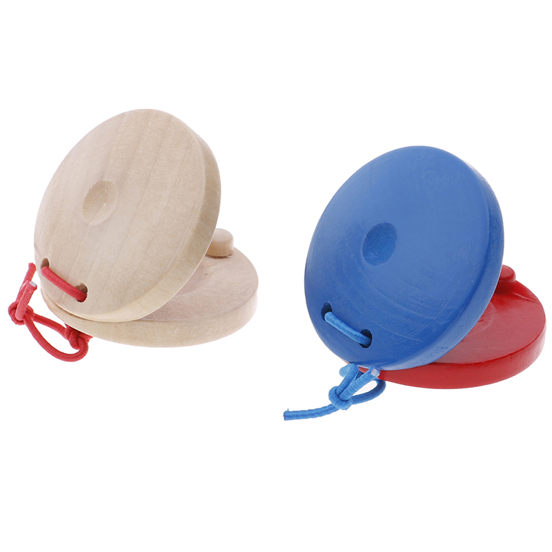 1pc Unisex Wooden Castanet Clapper Musical Instrument Education Child's Intellectual Development Listening Ability Red & Blue