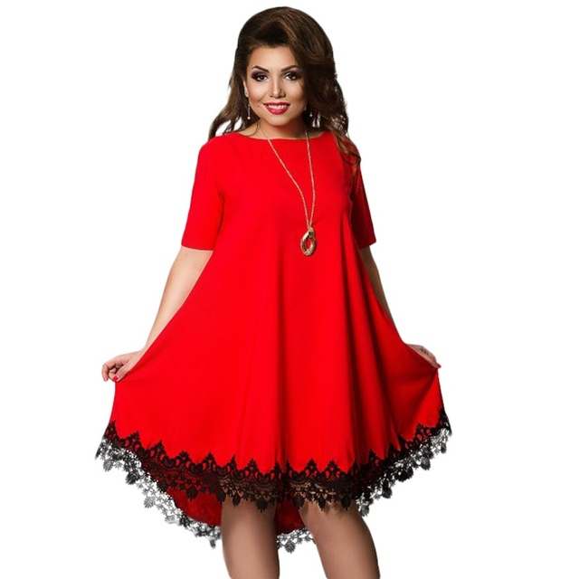 Women Large Size Patchwork Tassel Dress Casual Loose Plus Size Female Clothing L-6XL Blue Red Chiffon