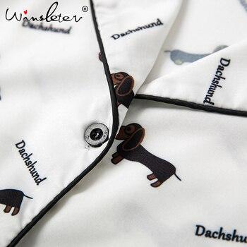 New 2019 Pajama Sets Women Dachshund Print 3 Pieces Set Long Sleeve Top + Pants Elastic Waist + Blinder Loose Homewear S74407 10