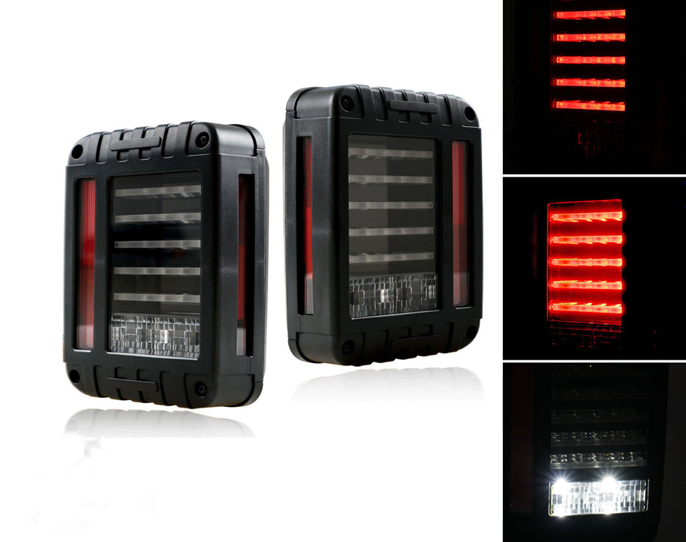 EU/US Version Pair of LED Reverse Backup Tail Light For Jeep Wrangler JK JKU 2007-2016 4x4 4WD 12V LED Running Turn Brake Lamps j184 lantsun pair of foot pegs for 2007 2016 jeep wrangler jk 2dr 4dr