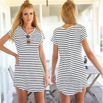2016 Fashion New Women Clothes Summer Striped Vintage Short Sleeve Bodycon V-Neck Sexy Mini Party Casual Dress Women Mini Dress