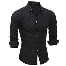 2017 Fashion Brand shirt Summer lattice Men Slim Fit Shirt Long Sleeve Casual Social Male Shirt