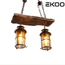 EKOO 2 Lights Vintage Industrial Retro Wood E27 Chandelier Iron Lamp Industrial Rustic Light  for restaurant bar Living Room