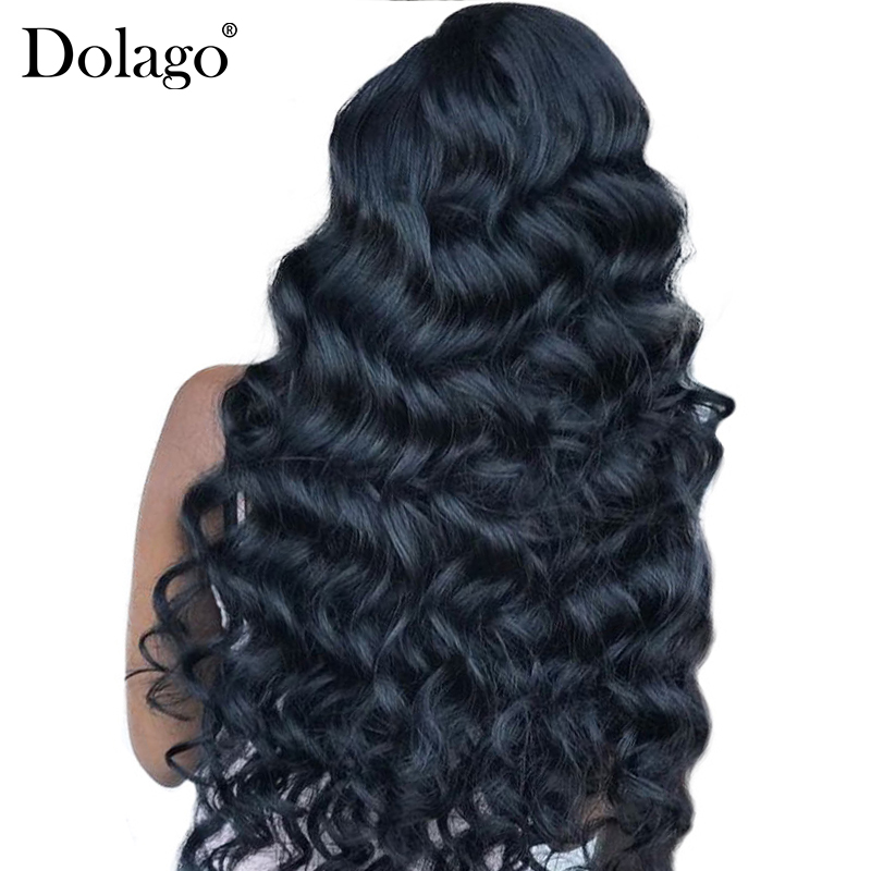 250% Density Loose Wave Lace Front Human Hair Wigs For Women Brazilian Lace Wig Pre Plucked Frontal Lace Wig Remy Black Dolago