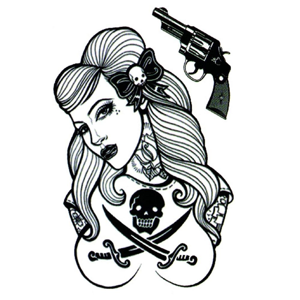Yeeech Temporary Tattoos Sticker for Women Men Fake Sexy Pirate Lady Gun Skull Sword Designs Large Arm Leg Body Art Waterproof