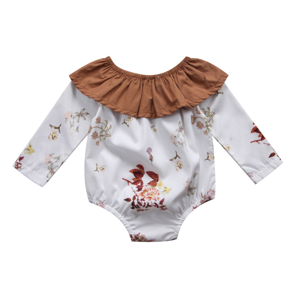 Pudcoco Cute Newborn Infant Baby Girls Floral Romper Long Sleeve Ruffle Jumpsuit Playsuit Cotton One-Piece Fall Winter Clothing puseky 2017 infant romper baby boys girls jumpsuit newborn bebe clothing hooded toddler baby clothes cute panda romper costumes
