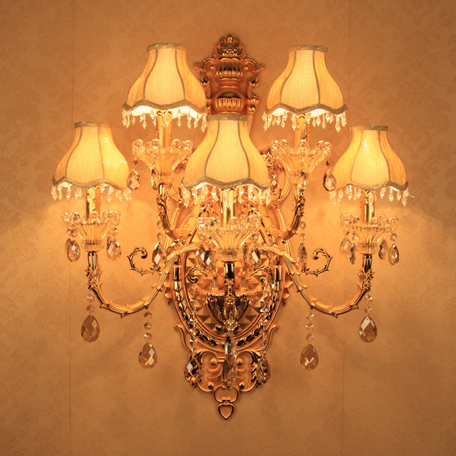 5 gold Luxury Crystal Wall Sconce Light Crystal Lighting romantic fashion crystal wall lamp wall lights