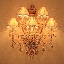 5 de ouro De Luxo Cristal Arandela Luz Iluminação de Cristal romântico moda cristal lâmpada de parede luzes de parede com sombra