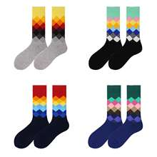 WH SOKKEN Happy socks tidal current  mens cotton stocks hip hop personality business funny style plaid pattern