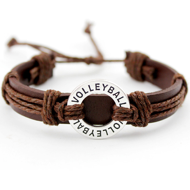 Volleyball Soccer Football Baseball Softball Lacrosse Field Ice Hockey Golf Calisthenics Charm Leather Bracelets Jewelry Gift