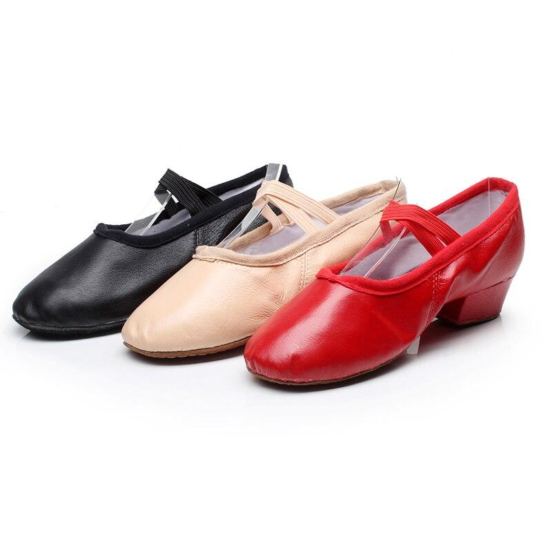 New Arrival Women s Canvas Leather Soft Bottom Square Heel Dance Shoes Ladies Practice Ballet Dancing