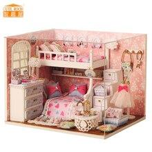 Furniture DIY Doll House Wodden Miniatura Doll Houses Furniture Kit Puzzle Handmade Dollhouse Toys For Children girl gift H006