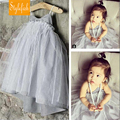 2016 New Girls European And American Style Childen Clothing Summer Stripe Veil Sling Bubble Dress Hot Sale