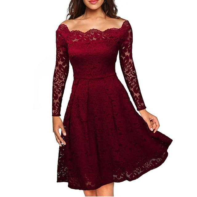 dcd5d5bca3 Off Shoulder Long Sleeve fit and flare lace dress White Vintage 50s 60s  Swing Tunic pin up dress Women elegant party dresses