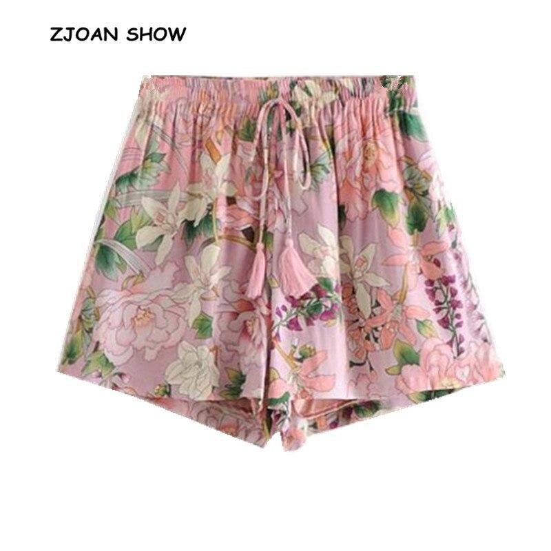 2019 New Women Bohemian Elastic Lacing Up Tassel Waist Print Flower Shorts Pink Ethnic Short Pants Trousers Femme Casual Pants