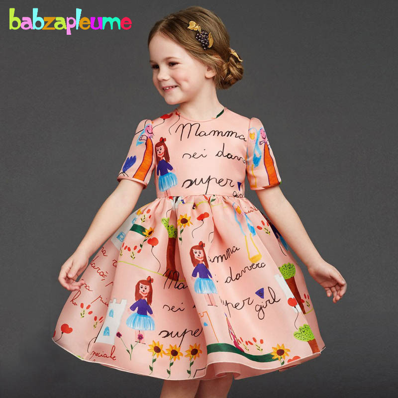 2 7Years Summer Baby Girls Dresses Cartoon Cute Infant Party Dress Children Clothing Princess Costume For