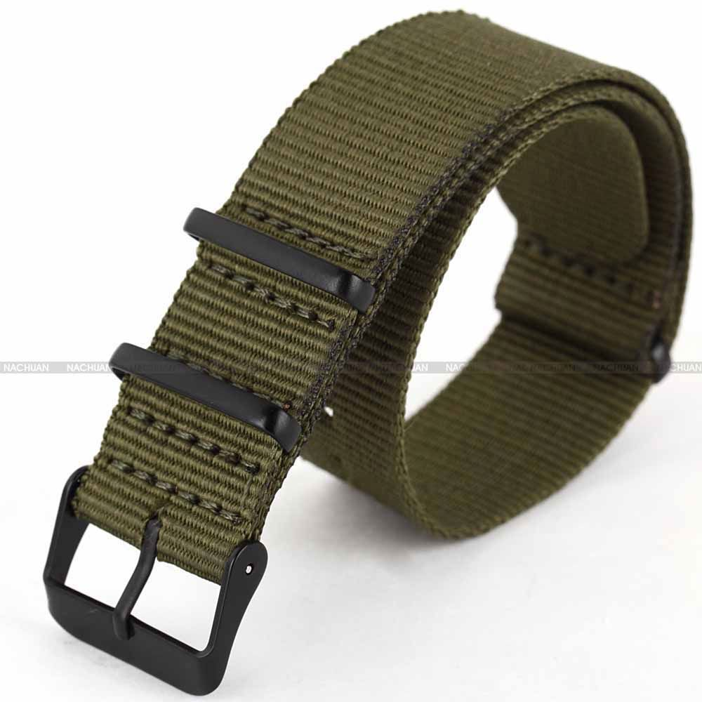 все цены на Army Green 20mm Nylon Canvas Fabric Black Stainless Steel Buckle Quartz Sport Wrist Military Strap Watch Band Watchband / WB2034 онлайн