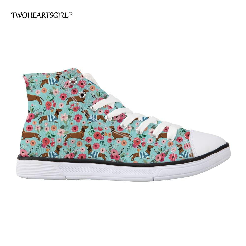 Twoheartsgirl High Top Sneakers Platno Čevlji Ženske Casual čevlji - Ženski čevlji