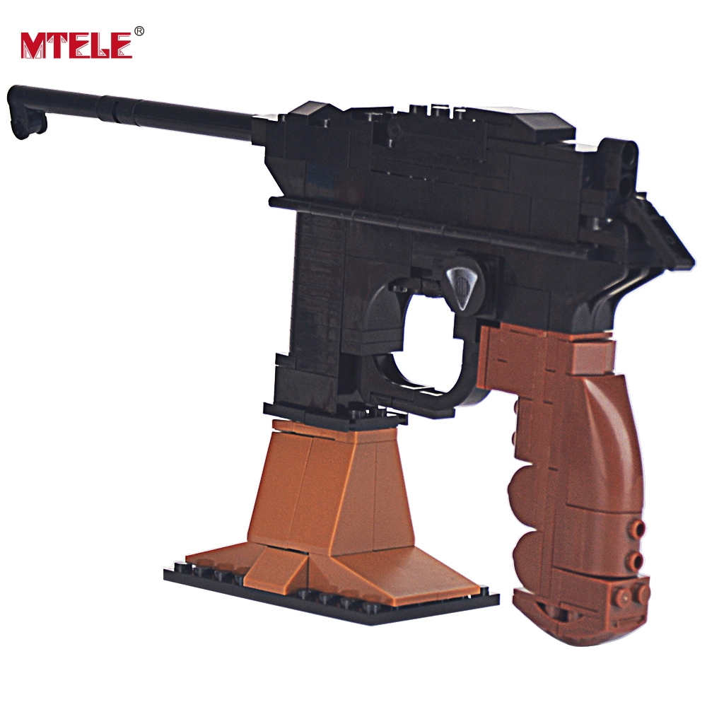 MTELE Brand Pistol Gun Weapon Arms Model 1:1 DIY Model Building Blocks For Kids toy High Quality Compatible with Lego 145 Pieces enlighten fight inserted assembled building blocks 407 set brick black weapon compatible air gun block model pistol toy for boys