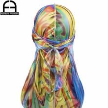 Mens Colorful Sparkly Silky Durags Turban Hat Bandanas Silk Men Durag Headwear Headband Waves Caps Hair Accessories Doo Rag