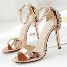 купить Women Ankle Strap Sandals Rhinestone Silk Buckle Strap Thin Heels 11.5CM Open Toed High Heels Women Sandals Discount Pumps по цене 707.98 рублей