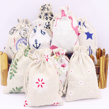 HOT sale 10x14 cm 5 pcs cotton linen fabric dust bag socks/candy /ribbon receive home Sundry kids toy storage gift
