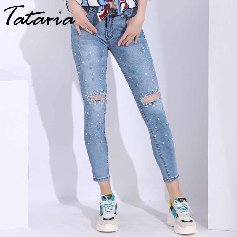 Тату рваные узкие джинсы женские потертые джинсы, Украшенные бусинами женские 2019 джинсы для женщин рваные джинсы женские джинсы
