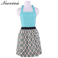 Neoviva Cotton Garden Apron For Women With Hidden Pockets Style Marie In Geometric Gingham Spa Blue