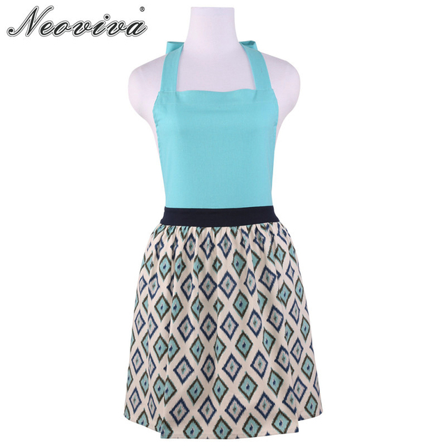 Neoviva Cotton Garden Apron For Women With Hidden Pockets Marie In  Geometric Gingham Spa Blue Adult