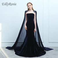 Navy Blue Velvet Evening Dresses with Cape Beading Mermaid Burgundy Arabic Evening Gowns Mother of the Bride arabic abendkleid