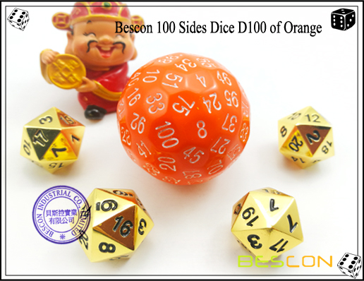 Polyhedral Dice 100 Sided 100 Sides Dice Black Red Ink w Bag D100 Game Dice