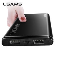USAMS Power Bank 10000mAh Dual USB Mobile Phone Portable Charger Powerbank Backup External Battery