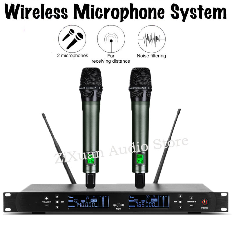 UHF 2 Channel Stage Performance Conference Wireless Microphone System Handheld Headset Lavalier Gooseneck Mic System for PartyUHF 2 Channel Stage Performance Conference Wireless Microphone System Handheld Headset Lavalier Gooseneck Mic System for Party