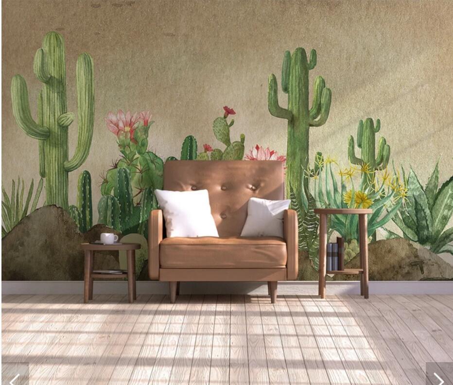 3d cactus flower wallpaper wall mural papier peint mural Decor papier peint mural