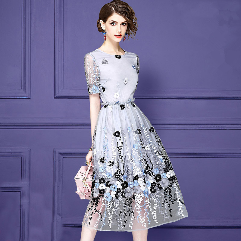 Beautiful Lady Floral Embroidery Party Dress Slim Mesh High Waist Vestidos Zip Short Sleeve Summer Brand Elegant Women Dresses