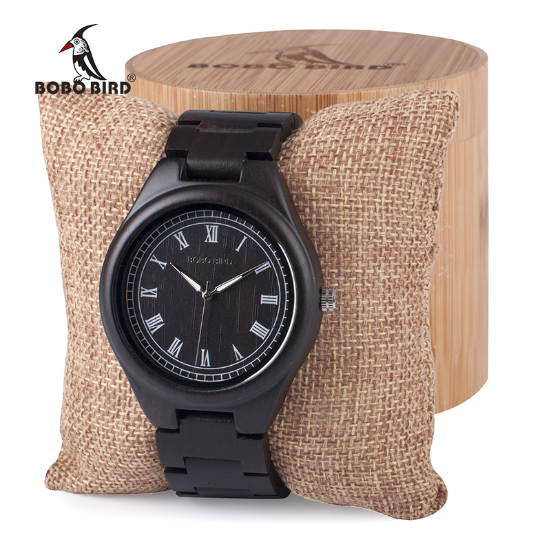 BOBO BIRD Mens Watches Zebra Bamboo Wooden Quartz wristwatch with Luminous Hands Full Wood Band in Gift Box Custom logo bobo bird wh05 brand design classic ebony wooden mens watch full wood strap quartz watches lightweight gift for men in wood box