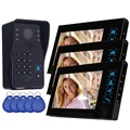 "7"" Color Video Door Phone Doorbell Video Intercom 3 Monitor Doorbell Camera RFID Access Control System&5 ID Card F4363A"