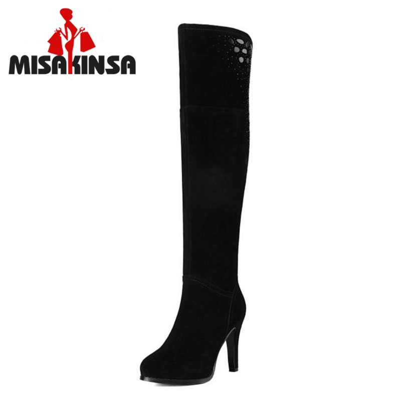 MISAKINSA Women Genuine Leather Over Knee Boots Zipper Print High Heel Boots Winter Boots Long Botas Women Footwear Size 34-39
