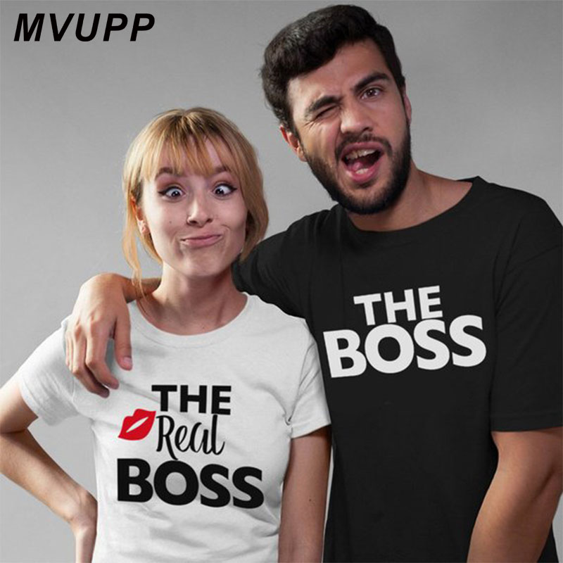 Real Boss kiss white couple tshirt for wife and husband men women clothes funny tee vegan ulzzang harajuku valentine lovers in T Shirts from Women 39 s Clothing