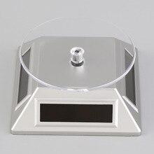 Solar Powered Rotating Reloj Pulsera Anillo de la Joyería Del Teléfono Móvil Soporte de Exhibición