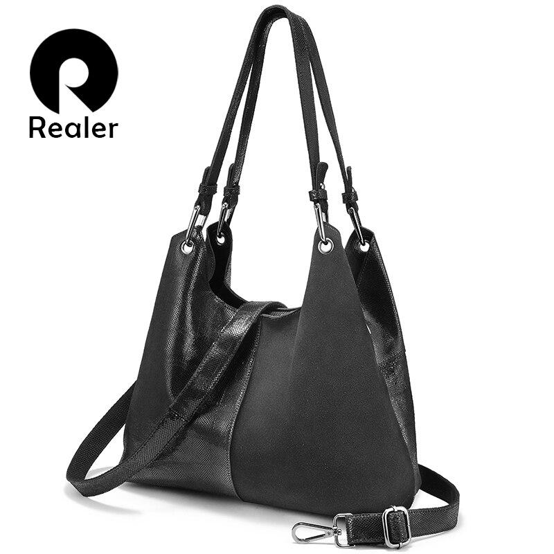 REALER large genuine leather handbags for women fashion ladies designers shoulder crossbody bags plaid pattern patchwork