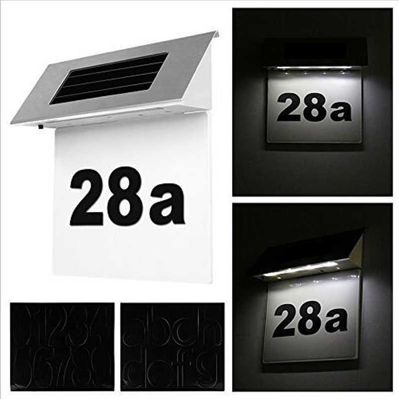 Нержавеющаясталь солнечные светодиодный номер дома лампы Открытый двери Открытый Вывеска на стену свет светодиодный солнечного света для наружного